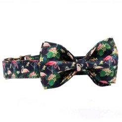 2020 Colorful and Stylish Summer Flamingo Dog collar with Bow Tie 8