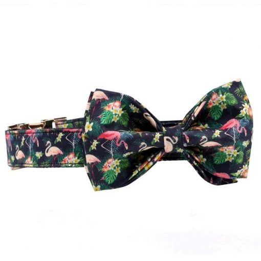 2020 Colorful and Stylish Summer Flamingo Dog collar with Bow Tie 2