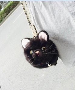 Realistic Fur Cat Purse With Adjustable Metal Strap | Free Shipping Stunning Pets black
