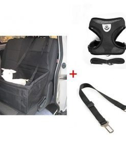 Seat Safety Non-slip Carrier, Harness & Leash Car Boosters Car bundle GlamorousDogs Black S