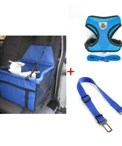 Seat Safety Non-slip Carrier, Harness & Leash Car Boosters Car bundle GlamorousDogs Blue S