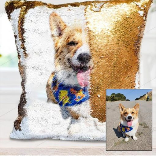 Sequin Pillow Reversible| Custom Sequin Pillow Custom Cushion GlamorousDogs