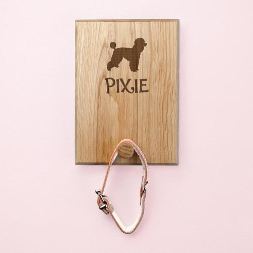 SPECIALHOOK™: Custom Dog Hook Made from Solid Oak Pets Moonshine Poodle