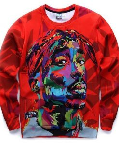 Sweatshirt for men autumn hoodies long sleeve tops red color Tupac Outfit Stunning Pets 8804 S