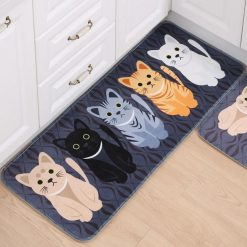 The Anti-Slip Kawai Cat Printed Mat Stunning Pets Black 40x60cm