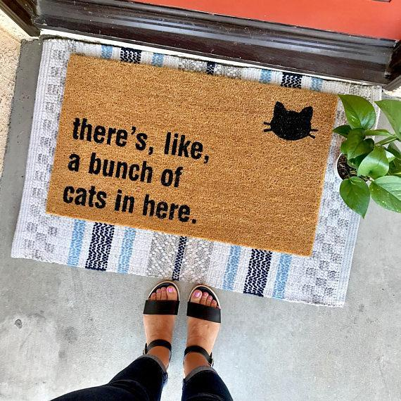 There's Like a Bunch of Cats in Here Doormat | Free Shipping Cat Doormat GlamorousDogs